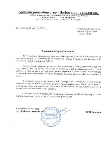 ЦТ Отзыв отзыв о работе АО АК «Арт-Аудит»