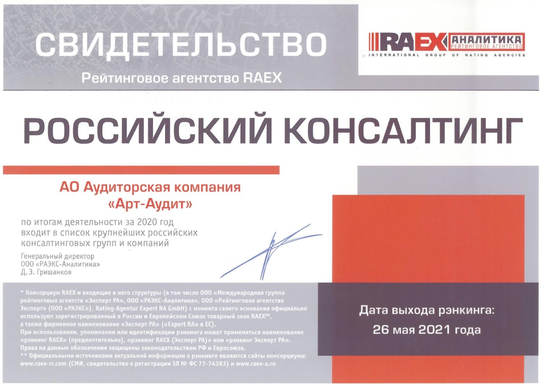 АО АК АРТ АУДИТ рейтинг от ЭКСПЕРТ РА консалтинг за 2020 год